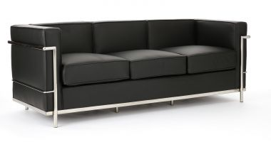 Lounge - Black Leather 3 Seater
