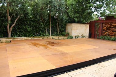 Pool Cover - Stained Timber Ply Finish