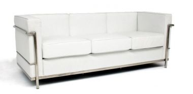 Lounge - White Leather 3 Seater
