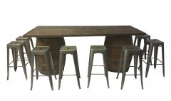Farmers Table Dark Oak with Tolix Stools Hi Bar Package