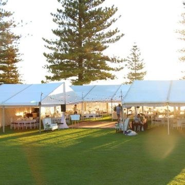 U-shaped wedding marquee