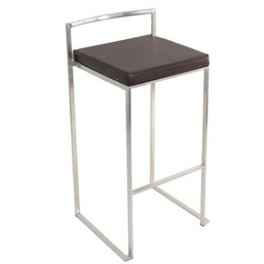 Bar Stool - Padded Black/Chrome