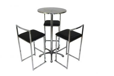 Cocktail Package - Ali Table and Black Chrome Bar Stools