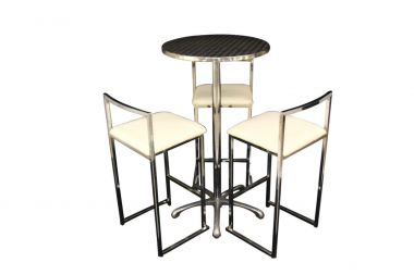 Cocktail Package - Ali Table and White Chrome Bar Stools