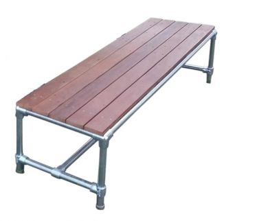 Industrial Pipe and Timber Picnic Setting - Bench Only