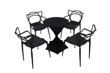 Cafe Package - Vine Chairs Black & Black Lycra Stretch Cover