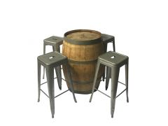 Wine Barrel & Tolix Stool Package