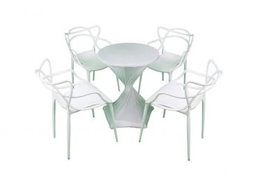 Cafe Package - Vine Chairs White & White Lycra Stretch Cover